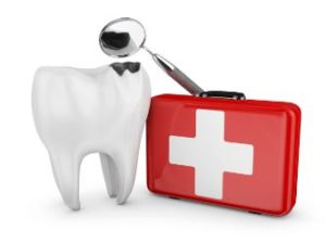 Tooth and First Aid Kit used by an emergency dentist in West Hollywood